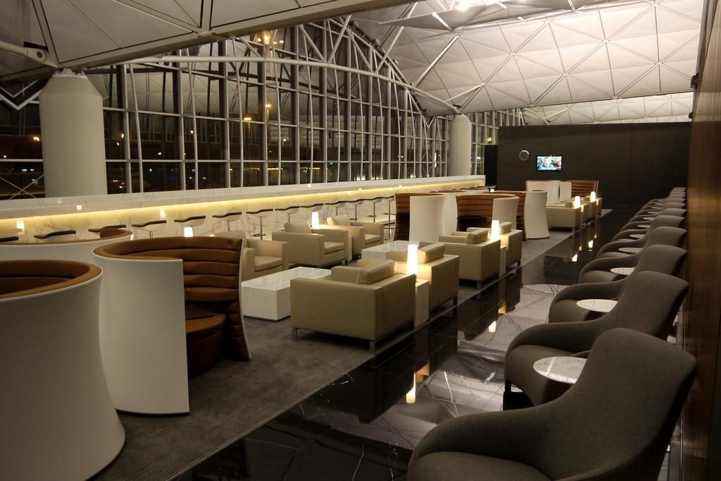 Cathay Pacific The Wing Business Class Lounge Hong Kong seating area
