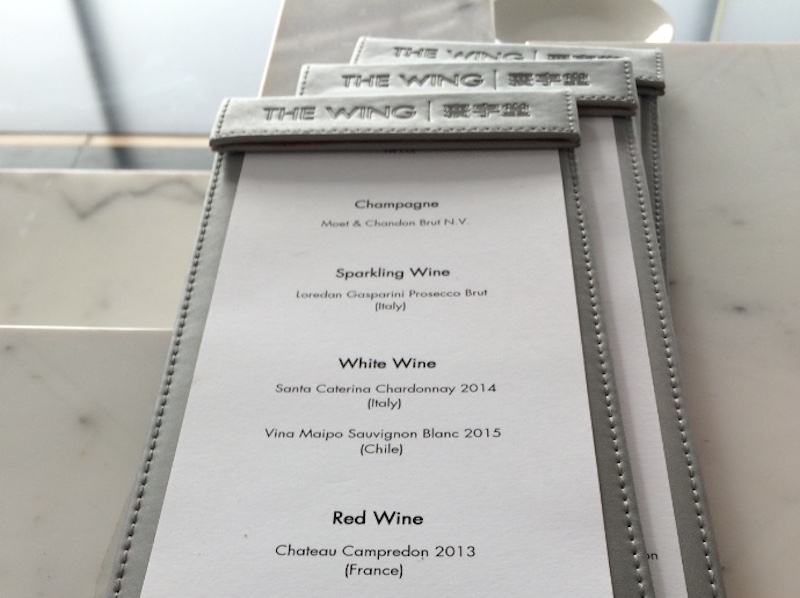 Cathay Pacific The Wing Business Class Lounge Hong Kong alcoholic beverage menu