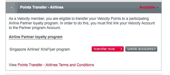 Velocity - KrisFlyer transfer start