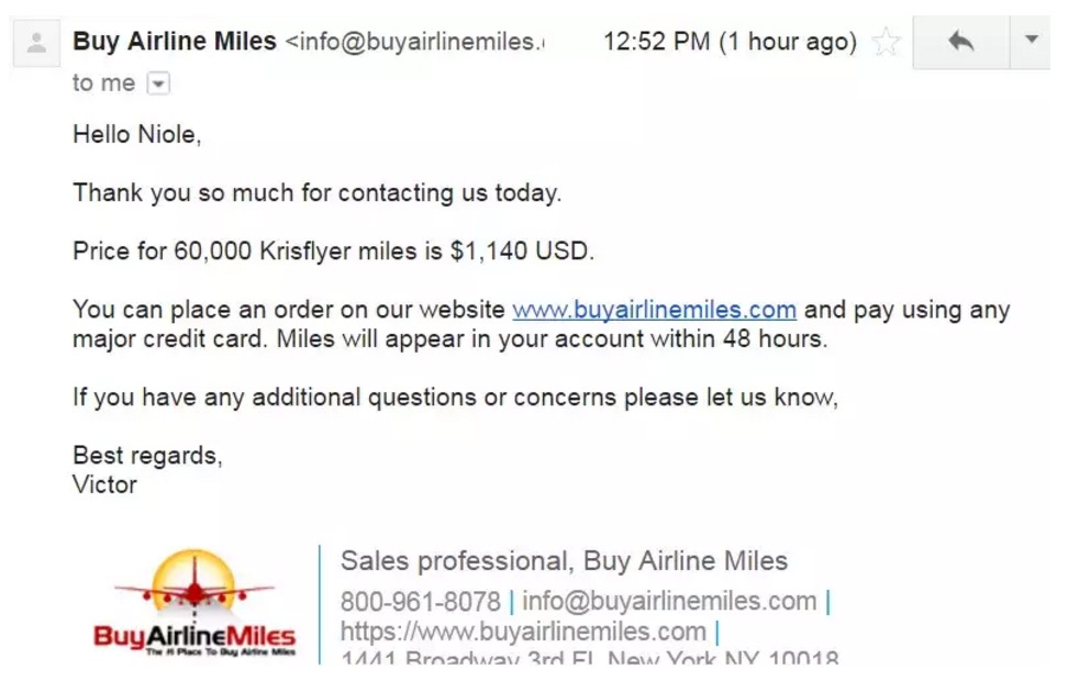 Online Mileage Brokers - Buy Airline Miles Email 1