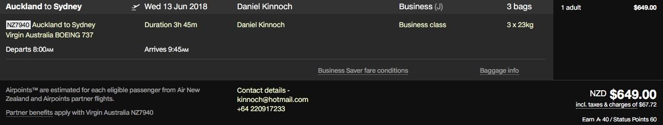 Air NZ Booking