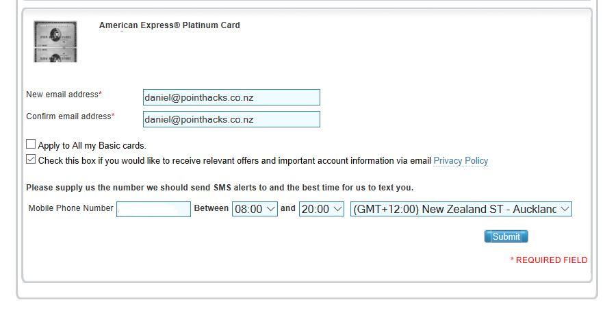Enrol in Amex emails