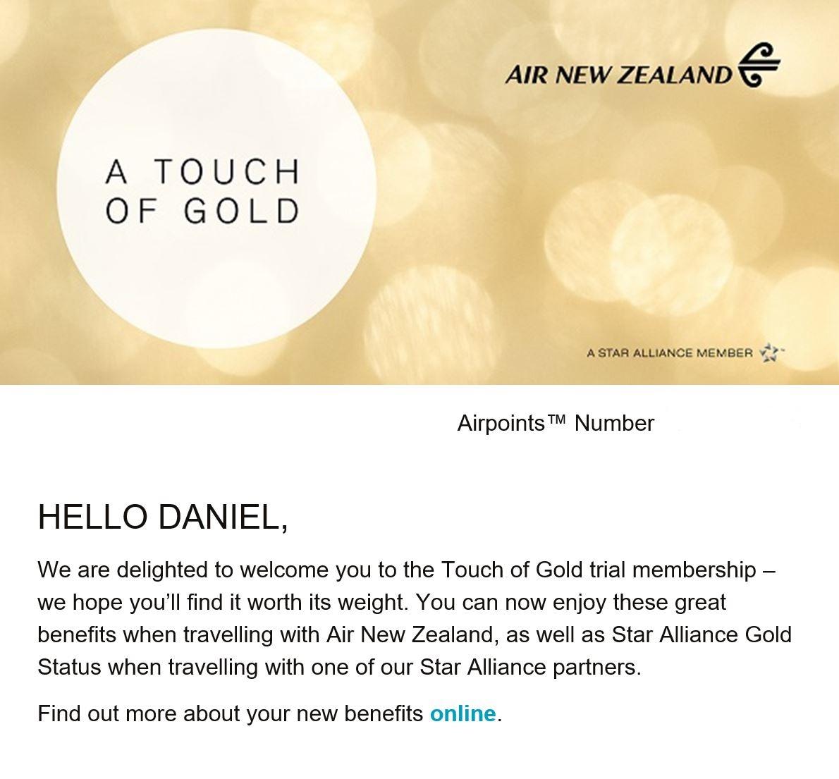 Air New Zealand Match Success Email
