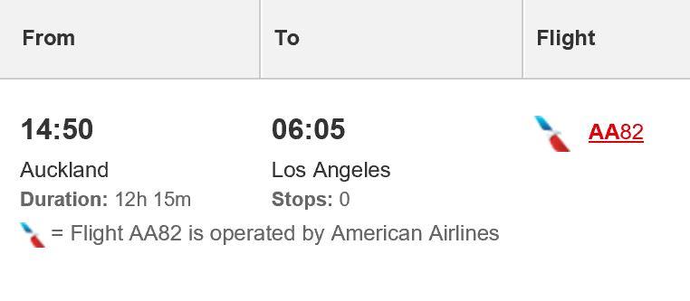 AA flight on Qantas website