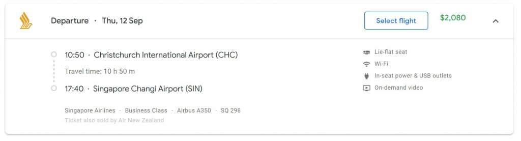 Singapore Airlines Christchurch Google Flights Example